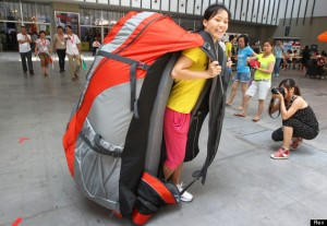 'World's largest backpack' at the Asia Outdoor Trade Show, Nanjing, Jiangsu Province, China - 24 Jul 2013