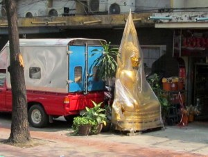 Buddhas covered up too...