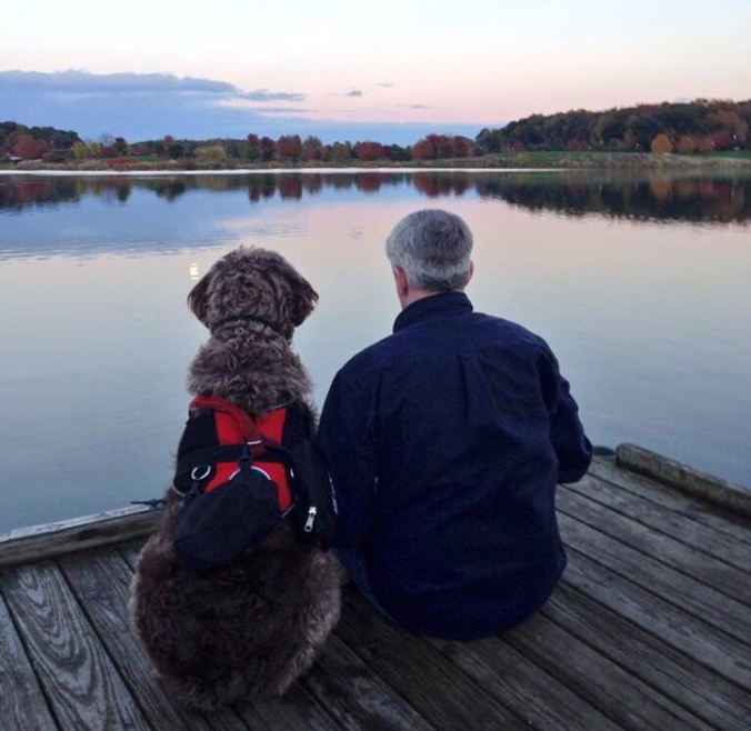Lon Hodge and his service dog, Gander, go everywhere together. After decades of living with debilitating PTSD, Gander is helping Hodge step back into the world. Photo: Courtesy of Lon Hodge